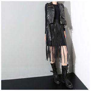 Accessories - 🆕 Black Long Fringe Vegan Leather Adjustable Belt